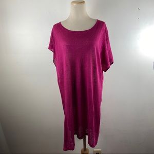 Bryan Walker Linen Pink Side Slit Tunic Top Shirt